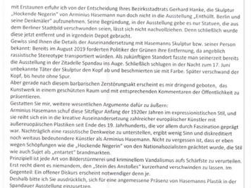 """Offener Brief: Bildersturm auf """"Hockende Negerin"""" nicht nachgeben"""