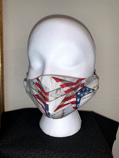 Stars On Plank Boards Patriotic Face Mask