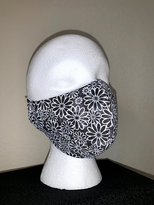 Black With White Daisy Face Mask