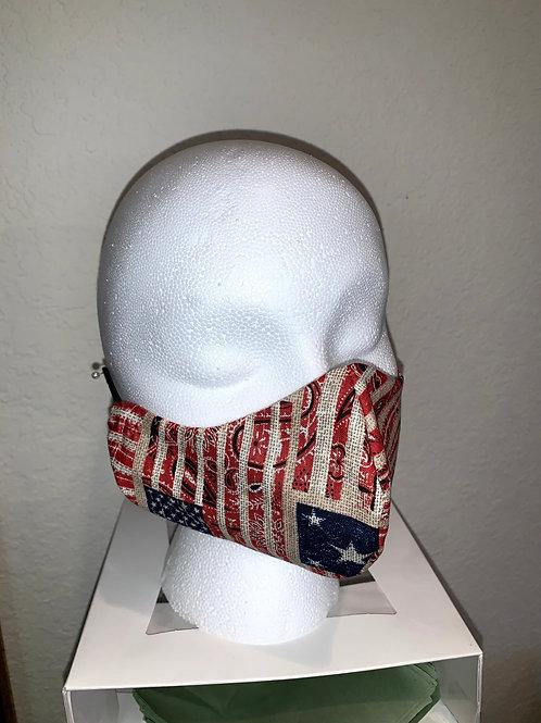 Flag/Cream Quilt Face Mask