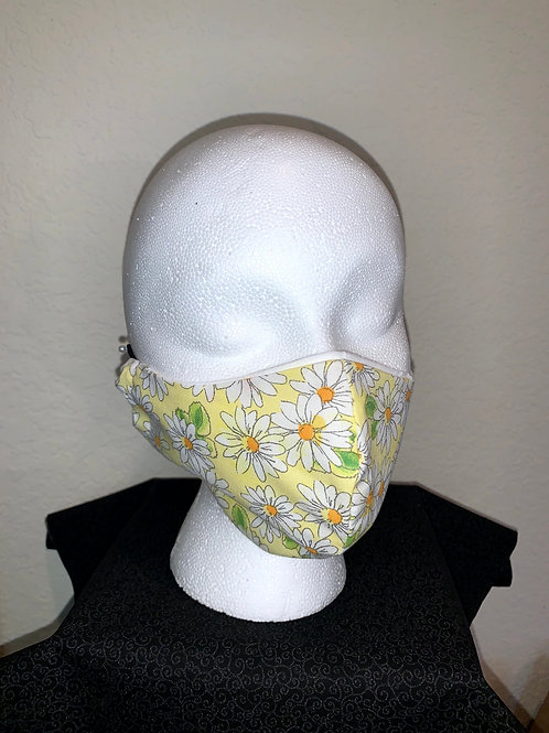 Yellow With White Daisy Face Mask