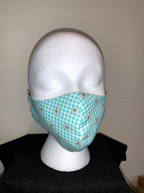 Green Checker With Daisy Face Mask