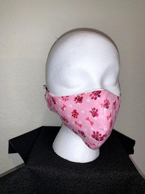 Pink Paws/Bones Face Mask