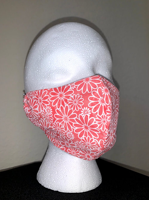 Corral With White Daisy Face Mask