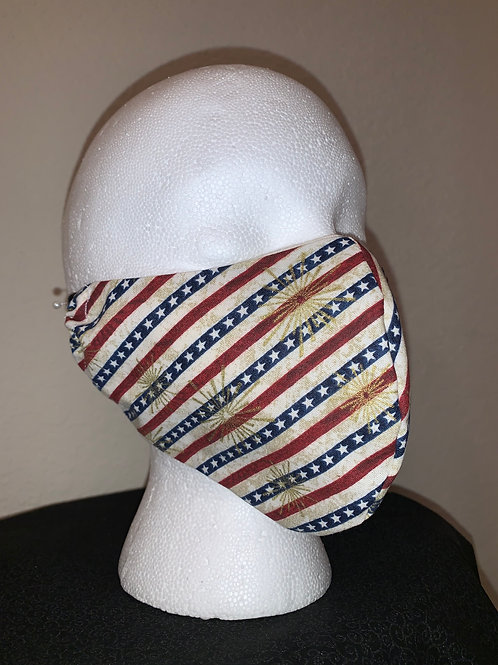 Diagonal Stars and Stripes Face Mask