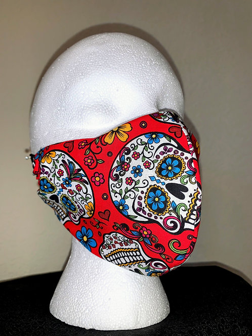 Red with Flower Skulls Face Mask