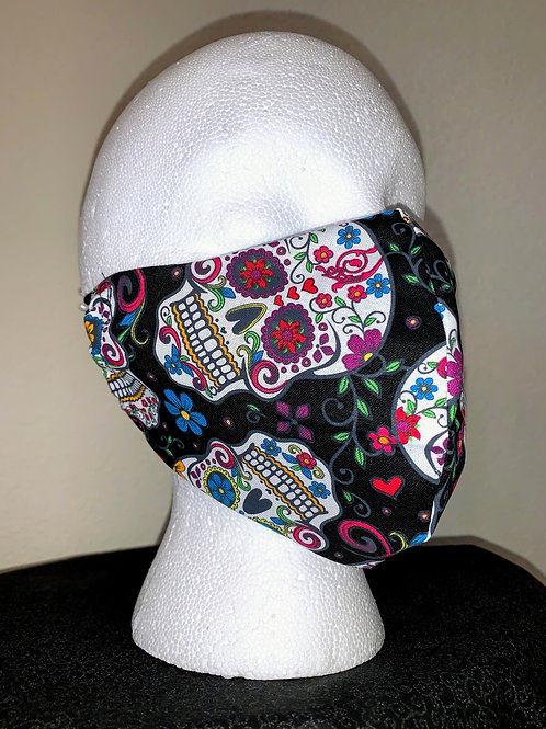 Black with Flower Skulls Face Mask
