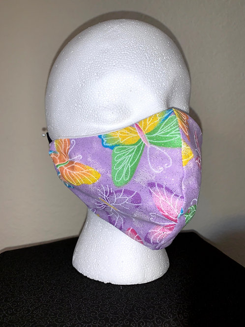 Purple With Colorful Butterfly Face Mask