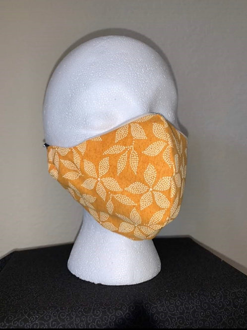 Gold With Yellow Flowers Face Mask