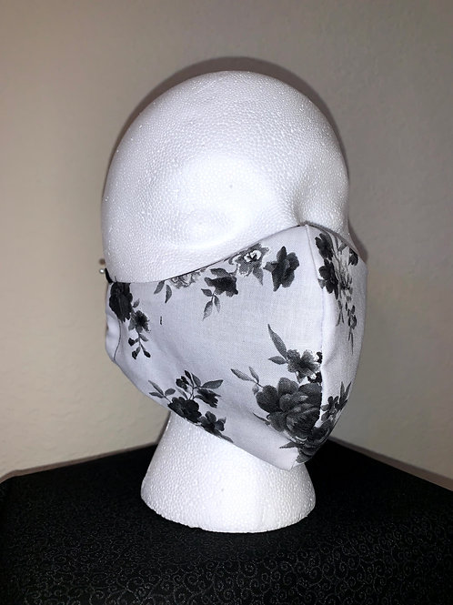 Gray With Black Flowers Face Mask