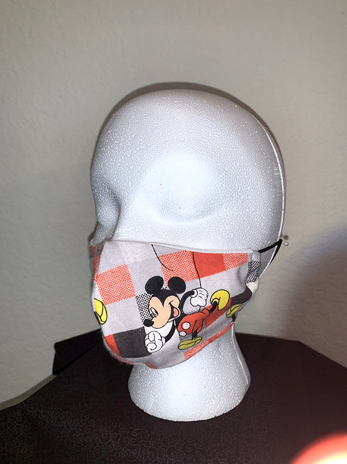Micky Mouse Plaid Face Mask