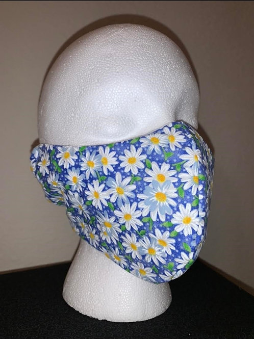 Blue With White Daisy Face Mask