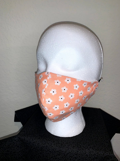 Peach With White/Navy Flower Face Mask