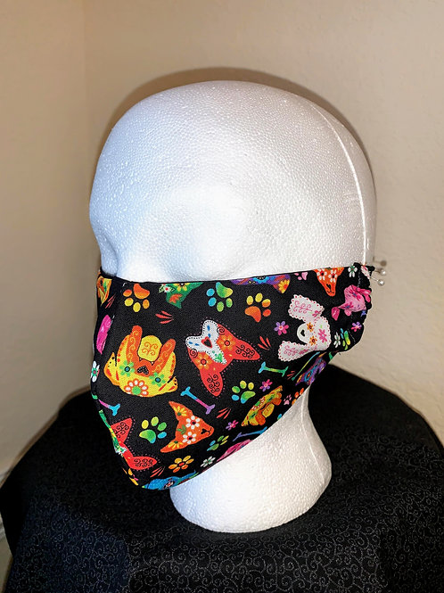 Black with Flower Dogs Face Mask