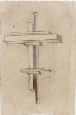Design for a Suprematist Horizontal Architecton Axonometric Drawing 1922