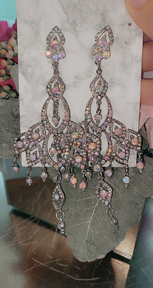 Pink Chandelier in Silver