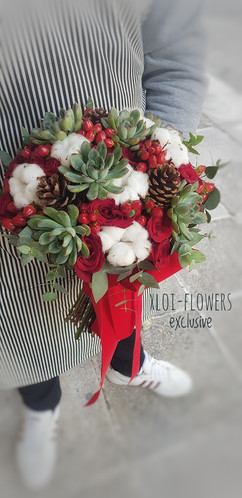 red bridal bouquet with succulents