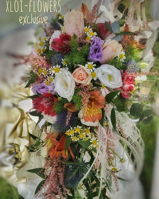 Πολύχρωμη κρεμαστή boho bridal bouquet