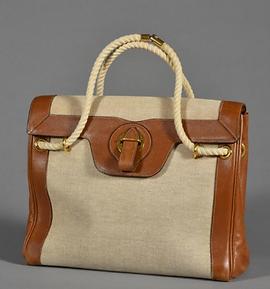 Hermes Sac toile, corde et cuir vintage.
