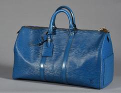 Sac Keepall 45 cuir épi bleu Vuitton