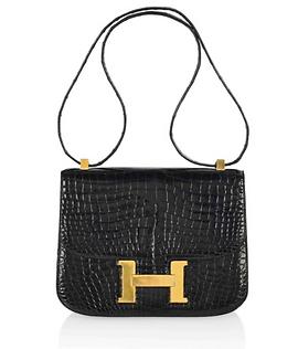 Sac Constance Hermès Paris en croco noir