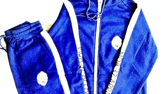 Blue/White Jogger Set