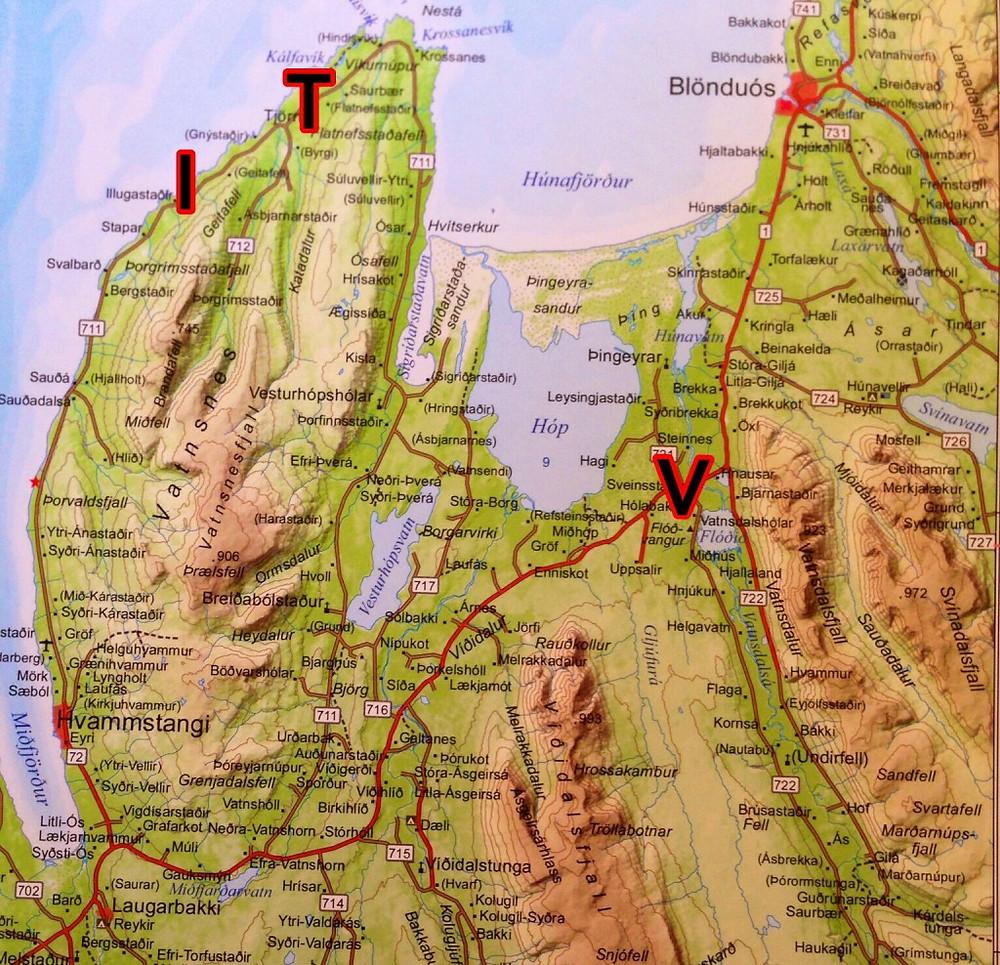 Illugastaðir (I), Vatnshólar (V), Tjörn (T)