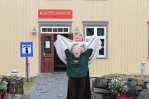 Cathy Josephson and Sunna Olafson Furstenau in front of the East Iceland Emigration Center at Vopnafjörður