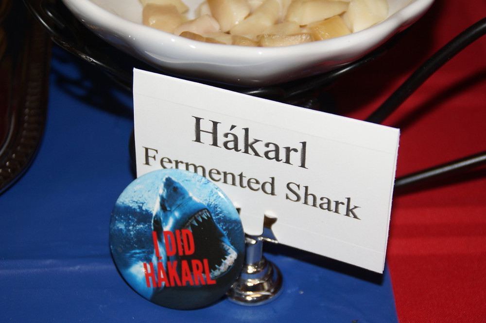 I DID HÁKARL buttons were given to everyone at the Þorrablót that tried the Hákarl. Photo by Shirley J. Olgeirson