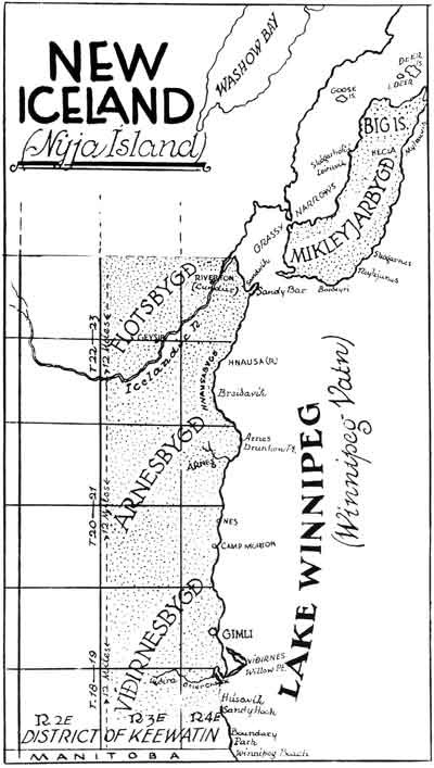 www.mhs.mb.ca map from Archives of Manitoba. Map showing Icelandic Settlement area near Lake Winnipeg. circa 1877.