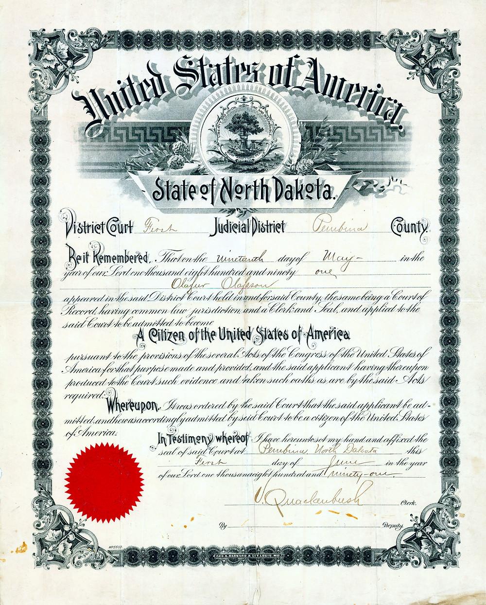 Ólafur Ólafsson Citizenship Paper
