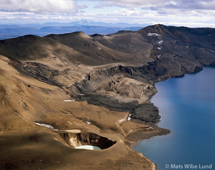 Mats Wibe Lund Photography of Askja-Viti-MWL0013888.tif. Víti við Öskjuvatn. Loftmynd.Viti crater at the shore of lake Öskjuvatn..The crater contains hot water fine for bathing. Aerial. See more at mats.photoshelter.com