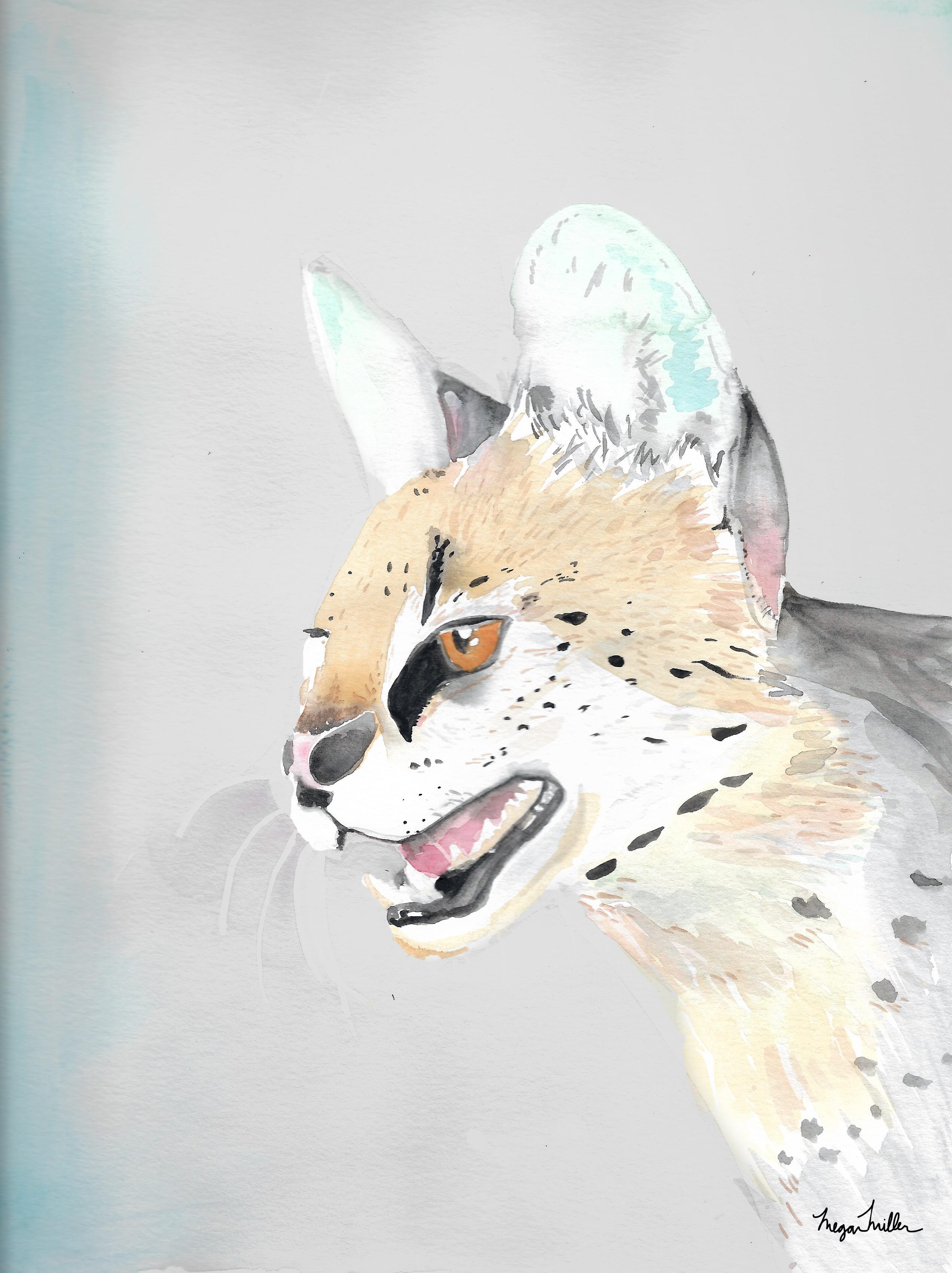 Watercolor Serval