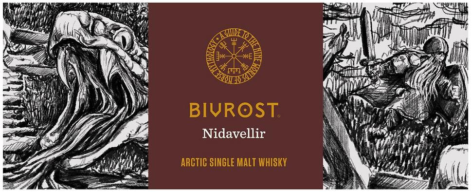 "Bivrost Artic Single Malt Whisky Nidavellir, das zweite Release der Sammelserie ""Neun Welten der nordischen Mythologie"". second release of the nine worlds of norse mythology collectable series"