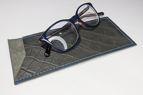 Military Croc With Blue Stitch Glasses Case