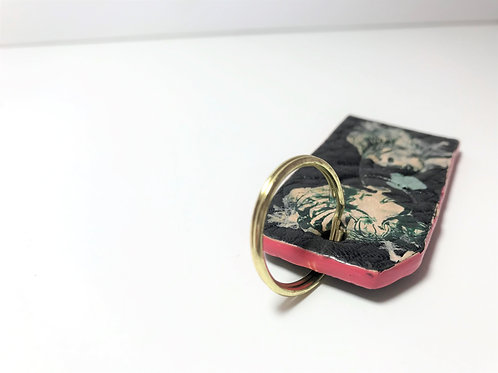 Textured Black & Face Drawing with Pop Pink Edge Dye Key Fob.