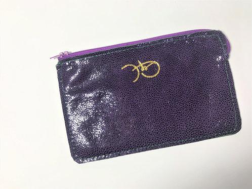 The Versatile Pocket Pouch in metallic Stingray purple