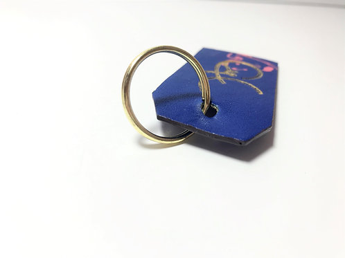 Bold Blue & Face Drawing with Grey Edge Dye Key Fob.