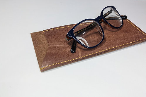 Tan With Yellow Stitch Glasses Case.