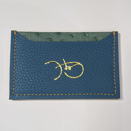 Matte Textured Blue & Sage Green Cardholder 'Type 1'.