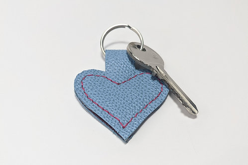 Textured Sky Blue Heart Key Ring.