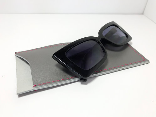 Metallic Silver With Pink Stitch Glasses Case