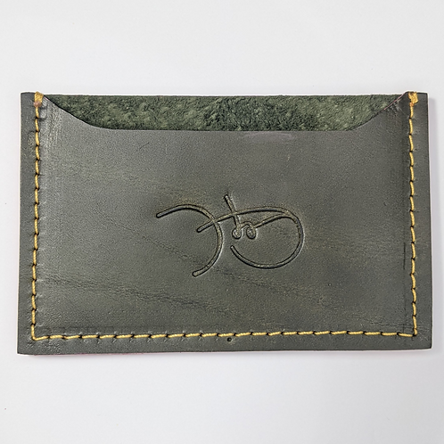 Olive Leather & Suede Cardholder 'Type 1'.