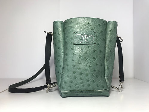 Aiuiua In Sage Green Ostrich With Brown Stitch And Paintwork