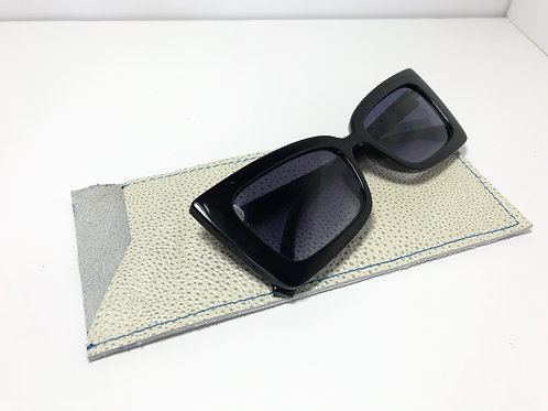 Pearled Stingray With Bold Blue Stitch Glasses Case