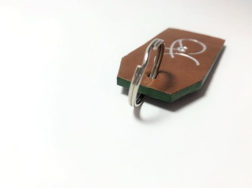 Smooth Brown & Textured Black with Green Edge Key Fob.