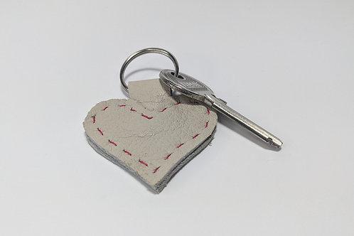 Cream Heart Key Ring.
