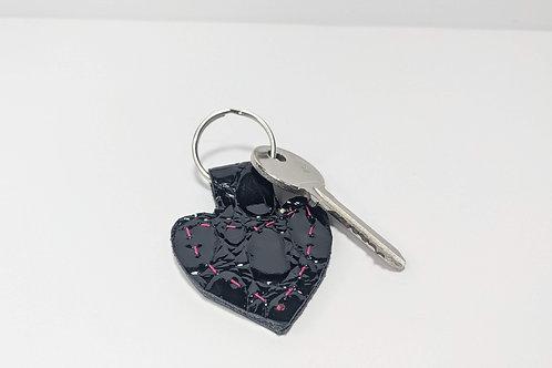 Patent Black Croc Heart Key Ring.