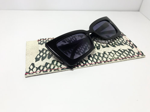 Snake Print With Pink Stitch Glasses Case