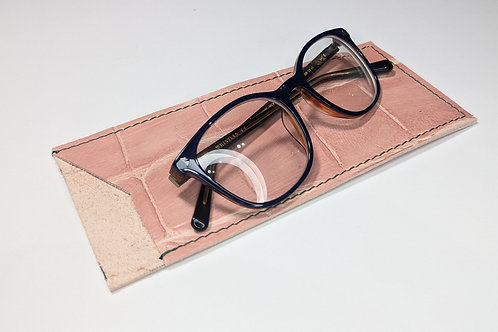 Pink Croc With Green Stitch Glasses Case.